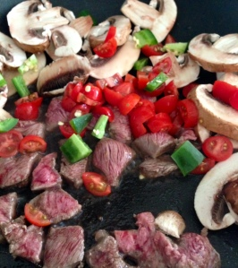 Steak and Mushroom Stir-fry Preparation