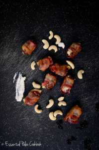 Bacon Wrapped Dates Stuffed with Cashew Cheese